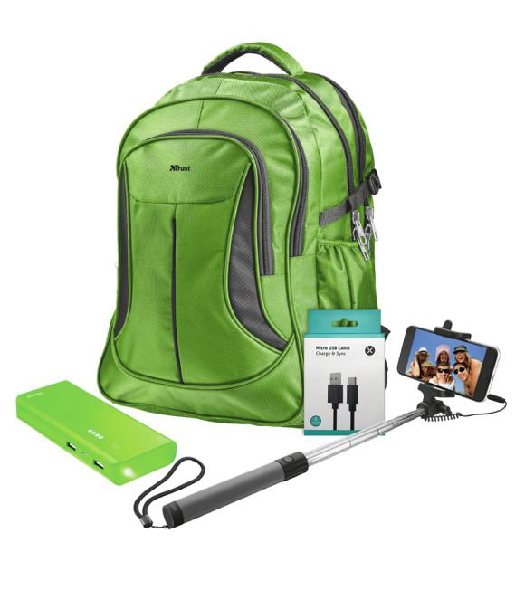 Trust 22856 Lima Yeşil Notebook Sırt Çantası + Trust 22748 Primo Yeşil Powerbank + Trust 21194 Selfie Çubuğu + Dexim DAKSC0011-B 1 M Micro Usb Kablo